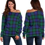 Tartan Womens Off Shoulder Sweater - Blackwatch Modern - BN