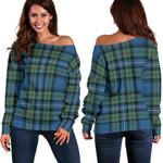 Tartan Womens Off Shoulder Sweater - Robertson Hunting Ancient - BN