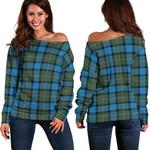 Tartan Womens Off Shoulder Sweater - Fergusson Ancient