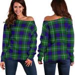 Tartan Womens Off Shoulder Sweater - Alexander