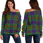 Tartan Womens Off Shoulder Sweater - Stewart Of Appin Hunting Modern