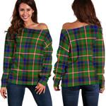 Tartan Womens Off Shoulder Sweater - Reid Green - BN