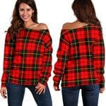 Tartan Womens Off Shoulder Sweater - Wallace Hunting - Red - BN