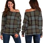 Tartan Womens Off Shoulder Sweater - Stewart Old Weathered