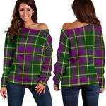Tartan Womens Off Shoulder Sweater - Taylor