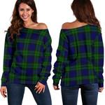 Tartan Womens Off Shoulder Sweater - Campbell Modern
