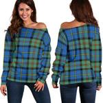 Tartan Womens Off Shoulder Sweater - MacLeod Of Harris Ancient