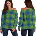 Tartan Womens Off Shoulder Sweater - Johnston Ancient - BN