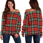 Tartan Womens Off Shoulder Sweater - Kerr Ancient