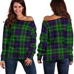 Tartan Womens Off Shoulder Sweater - Leslie Hunting