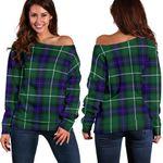 Tartan Womens Off Shoulder Sweater - MacDonald Of The Isles Hunting Modern