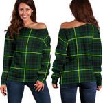 Tartan Womens Off Shoulder Sweater - MacArthur Modern