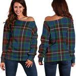 Tartan Womens Off Shoulder Sweater - Fraser Hunting Ancient - BN