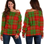 Tartan Womens Off Shoulder Sweater - Burnett Ancient