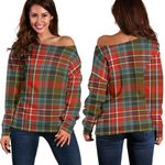 Tartan Womens Off Shoulder Sweater - MacPherson Weathered
