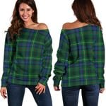 Tartan Womens Off Shoulder Sweater - Stewart Hunting Modern