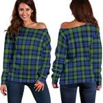 Tartan Womens Off Shoulder Sweater - Campbell Argyll Ancient - BN