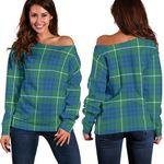 Tartan Womens Off Shoulder Sweater - Hamilton Hunting Ancient