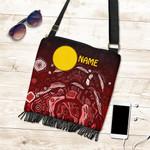 [Custom Text] 1stAustralia Aboriginal Boho Bag - Red Landscape