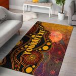 [Custom Text] 1stAustralia Aboriginal Area Rug - Australia Indigenous Flag Circle Dot Painting Art (Golden)