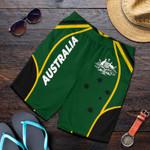 1stAustralia Men's Shorts - Australian Coat Of Arms (Green) Shorts