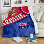 1stAustralia Premium Blanket - Aus Flag and Coat of Arms Blanket Waratah Flowers