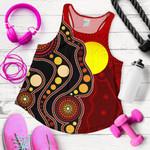 1stAustralia Women's Racerback Tank, Australia Indigenous Flag Circle Dot Painting Art