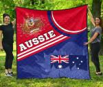 1stAustralia Premium Quilt - Aus Flag and Coat of Arms Quilt Waratah Flowers