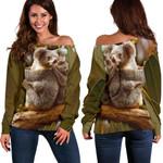 1stAustralia Off Shoulder Sweater - Australian Koala Sweater 3D Koala
