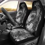 Federated States of Micronesia Car Seat Covers - Humpback Whale with Tropical Flowers (White)