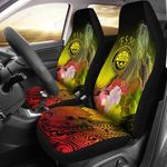 Federated States of Micronesia Car Seat Covers - Humpback Whale with Tropical Flowers (Yellow)