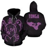 Tonga Polynesian Hoodie - Tonga Coat Of Arms In Turtle Map Purple TH5 1ST