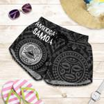 American Samoa Women's Shorts - Seal In Polynesian Tatoo Style ( Black)