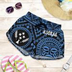 Kosrae Women's Shorts- Kosrae Flag In Polynesian Tatoo Style (Blue)