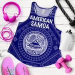 American Samoa Women's Racerback Tank - Seal In Polynesian Tatoo Style ( Blue)