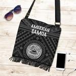 American Samoa Boho Handbag - Seal In Polynesian Tattoo Style ( Black) -BN25
