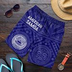 American Samoa Men's Short - Seal In Polynesian Tattoo Style ( Blue) -BN25