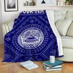 American Samoa Personalised Premium Blanket - Seal In Polynesian Tattoo Style ( Blue) -BN25