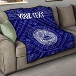 American Samoa Personalised Premium Quilt - Seal In Polynesian Tattoo Style ( Blue) -BN25