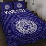 American Samoa Personalised Quilt Bed Set - Seal In Polynesian Tattoo Style ( Blue) -BN25