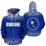 Chuuk All Over Zip-Up Hoodie - Blue Fog Style - BN09