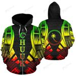 Chuuk All Over Zip-Up Hoodie - Reggae Color Tattoo Style - BN01