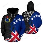 Cook Islands Zip-Up Hoodie - Cook Islands Flag Coat Of Arms Grunge Special A02 1ST