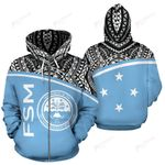 Federated States Of Micronesia All Over Zip-Up Hoodie - BN09