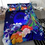 Federated States of Micronesia Bedding Set - Humpback Whale with Tropical Flowers (Blue)- BN18
