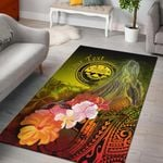Federated States of Micronesia Custom Personalised Area Rug - Humpback Whale with Tropical Flowers (Yellow)- BN18