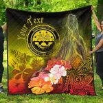 Federated States of Micronesia Custom Personalised Premium Quilts - Humpback Whale with Tropical Flowers (Yellow)- BN18