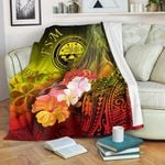 Federated States of Micronesia Premium Blanket - Humpback Whale with Tropical Flowers (Yellow)