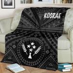 Kosrae Premium Blanket - Kosrae Flag In Polynesian Tatoo Style (Black)