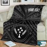 Kosrae Personalised Premium Blanket - Kosrae Flag In Polynesian Tatoo Style (Black)